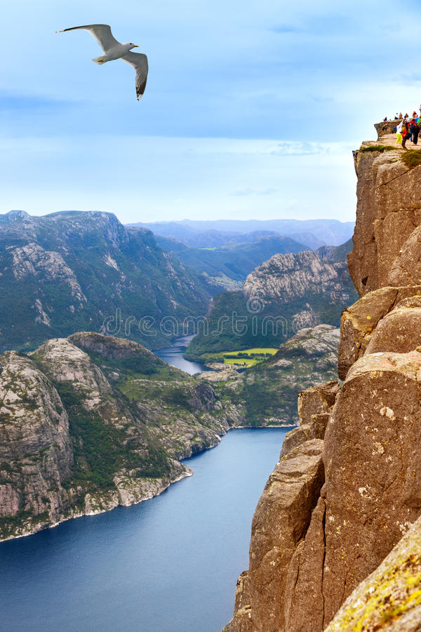Free Cliff Preikestolen In Fjord Lysefjord - Norway Royalty Free Stock Photography - 52715987