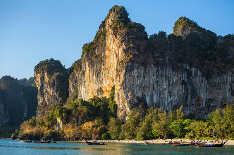 Cliff at the Railay peninsula in Krabi stock images