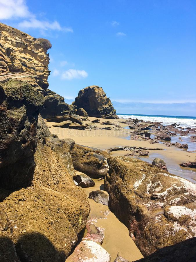 Cliff with the Rock Formations at La Tinosa Beach in Ecuador stock image