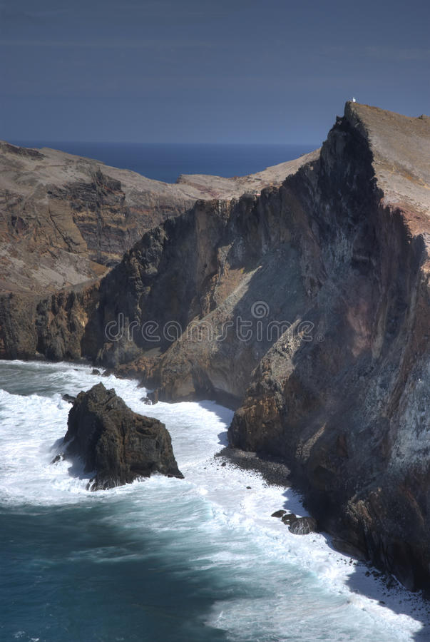 Cliff sao lourenco, maderia, portugal royalty free stock photo