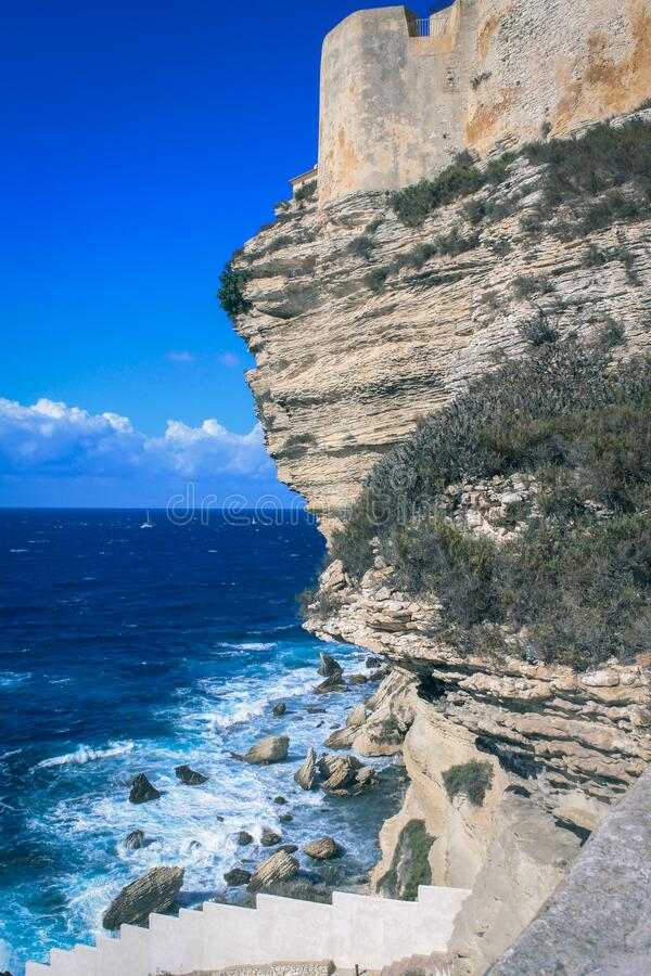 Cliff by sea royalty free stock image