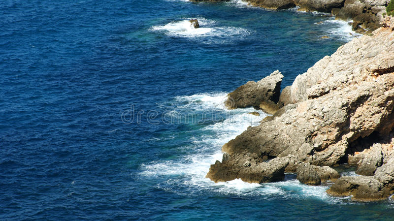 Cliff. Seashore Ionian sea Kefalinia Greece royalty free stock photos