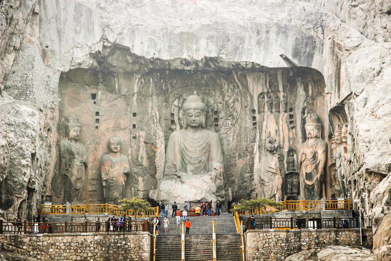 Cliff stone carving at Longmen Grottoes, Luoyang, Henan, China royalty free stock photos