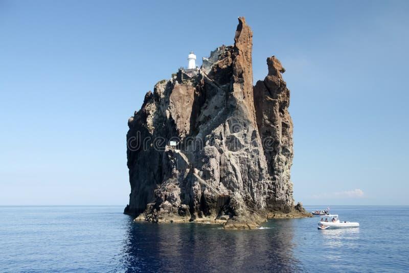 Cliff Strombolicchio, Italy stock photos