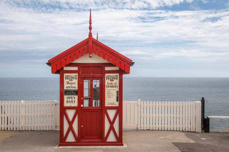Cliff tramway booth in Saltburn. Saltburn-by-the-Sea, United Kingdom - 18 July, 2014: Victorian style cliff tramway booth at the beach in Saltburn-by-the-Sea in stock photography