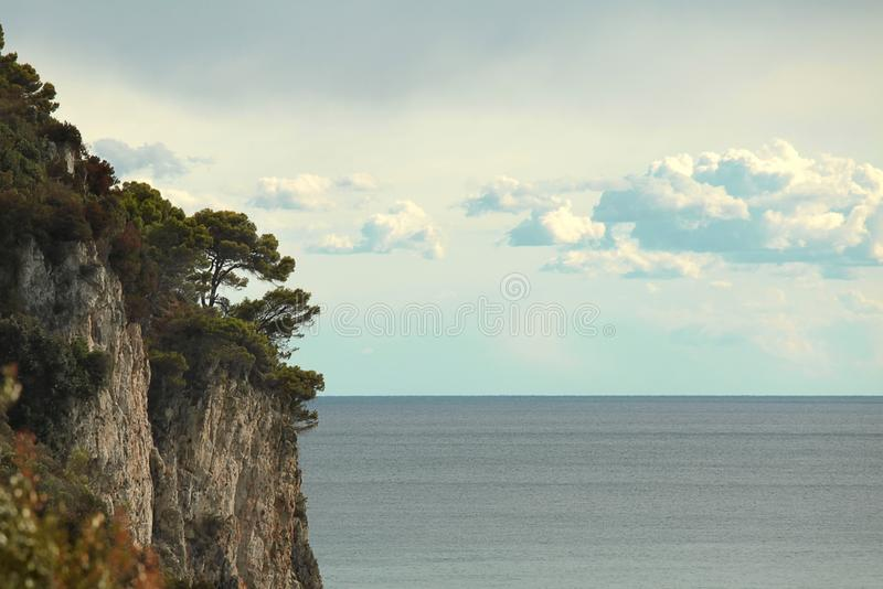 Cliff with trees and stones. Sea space and clouds.  stock images