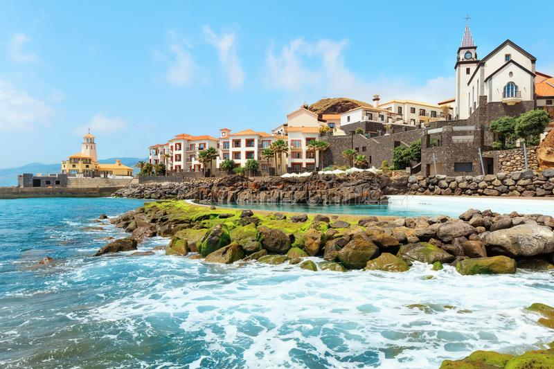 Beaches of Madeira. Cliff view panorama of Quinta do Lorde village near Canical in Madeira island, Portugal stock photo