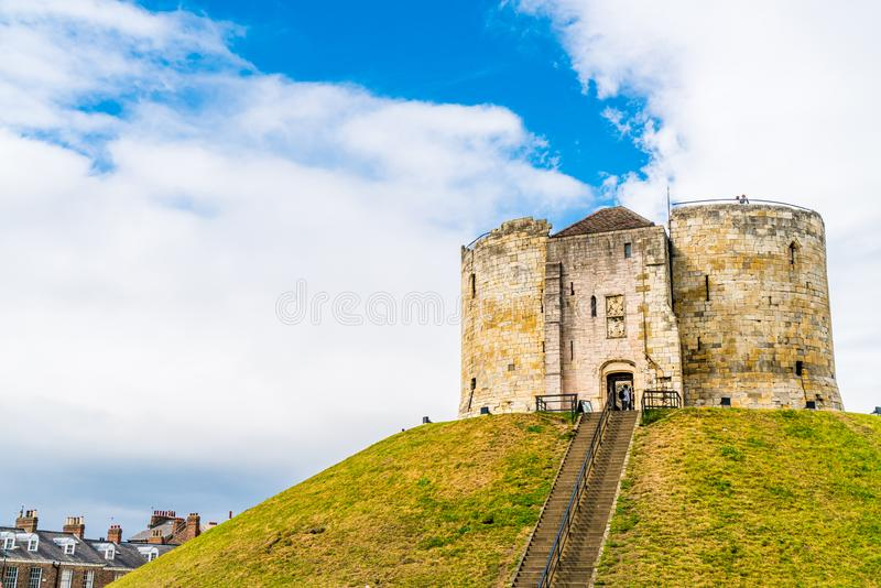 Clifford\'s Tower, a historical castle in York, England, UK royalty free stock photos