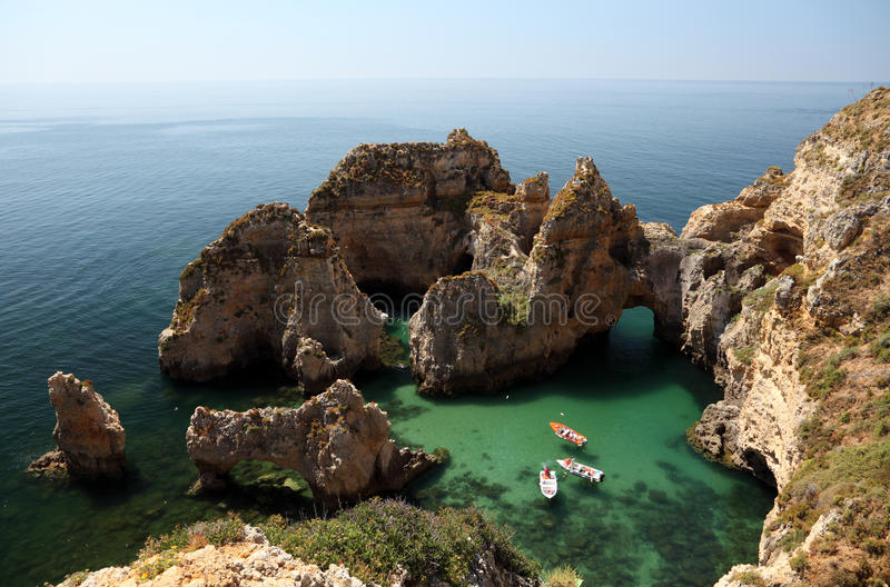Cliffs at Algarve coast royalty free stock image