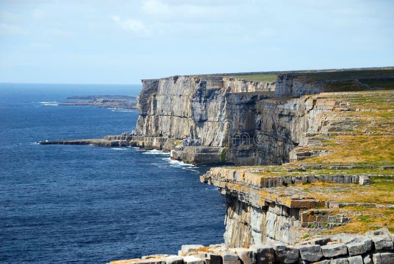 Cliffs in Aran Islands, Ireland. Green fields on the top of the cliffs in Aran Islands, Ireland royalty free stock photography