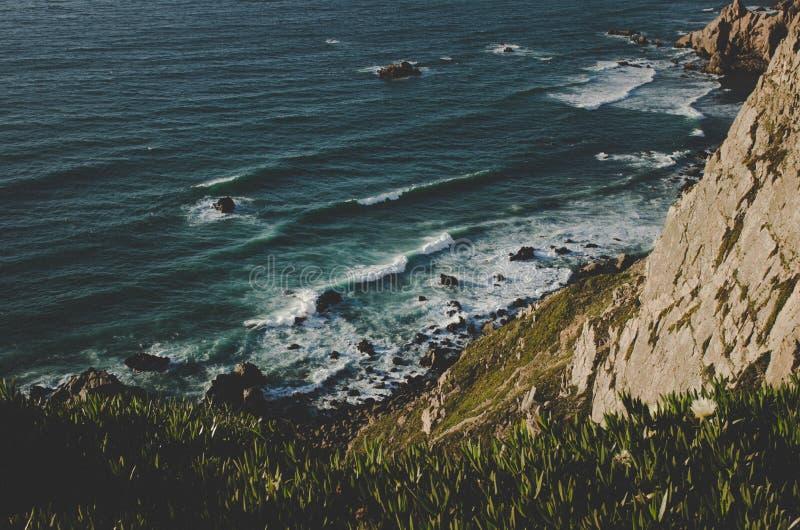 The cliffs and Atlantic ocean of Cabo da Roca stock image