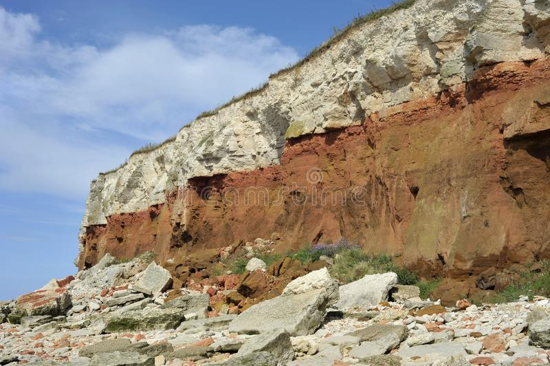Hunstanton cliffs on the Norfolk coast royalty free stock photography