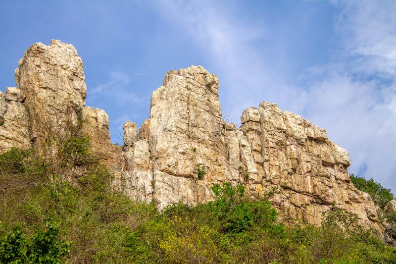 The cliffs in the big forest royalty free stock photography