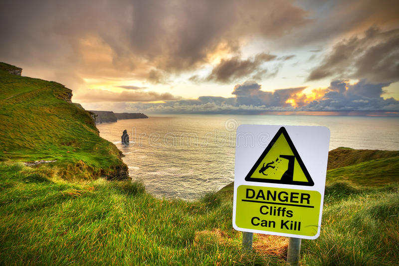 Cliffs Can Kill Sign Stock Photo