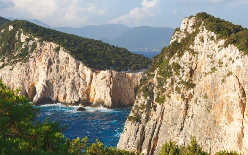 Cliffs at Cape Lefkatas, Lefkada , Ionian sea, Greek Islands. Beautiful cliffs at wild west coast of Lefkada and its southest part Cape Lefkatas, Doukato, Greece stock photos