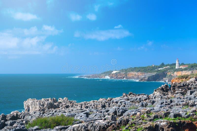 The cliffs on the coast of the Atlantic Ocean. Ocean waves, Casc stock photography