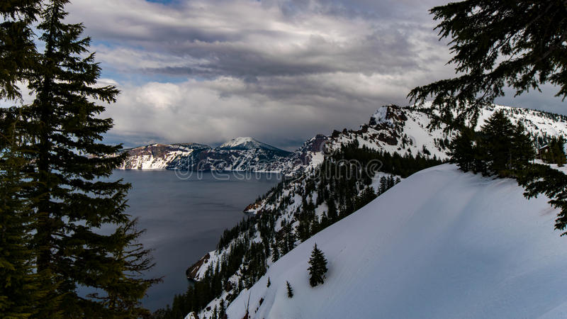 Cliffs of Crater Lake royalty free stock photography