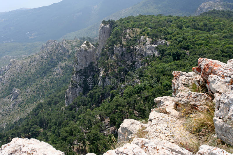 Cliffs in Crimean mountains royalty free stock photography