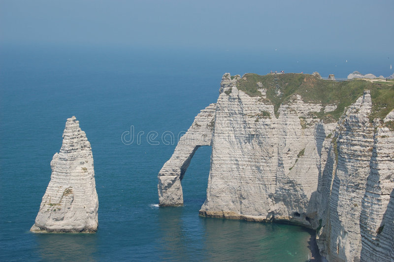 The cliffs of etretat stock photography