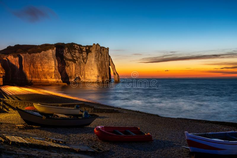 Cliffs of Etretat France at Sunset stock photography