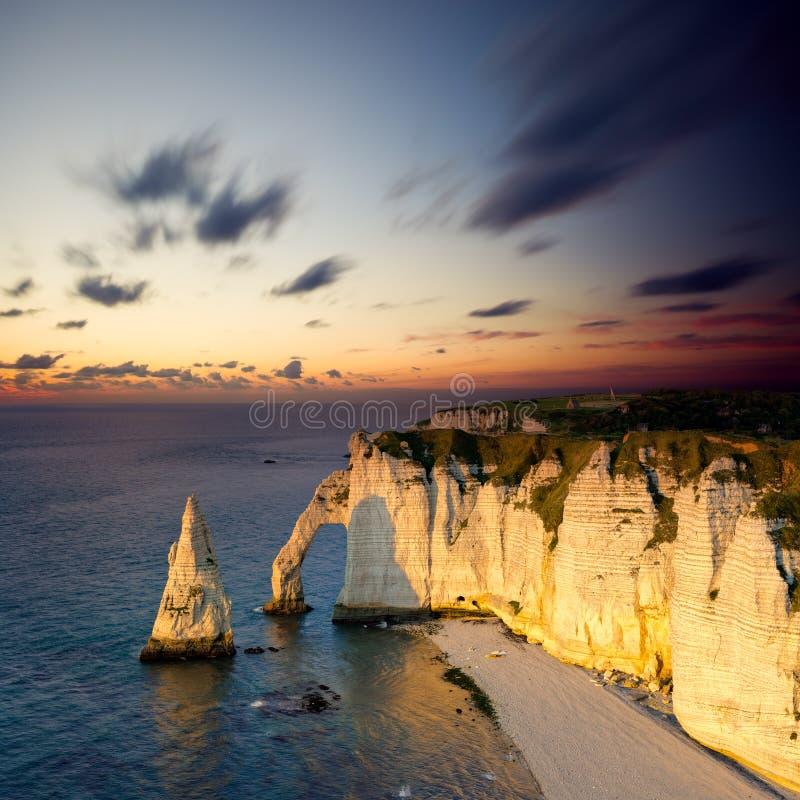 Cliffs of Etretat, France stock images