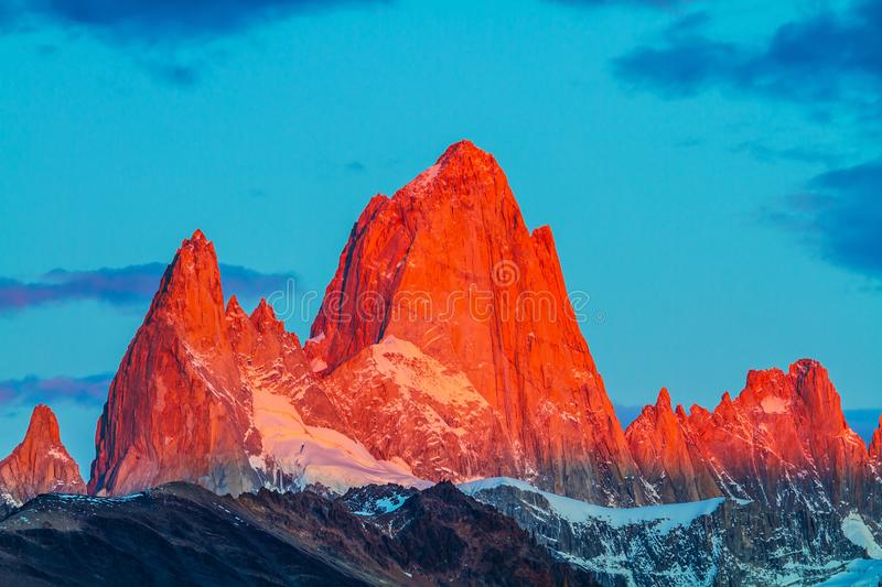 The cliffs Fitz Roy in crimson light of sunset royalty free stock photo