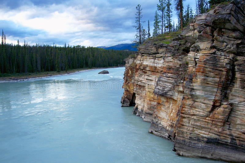 Evening Light on Cliffs and Forest along Athabasca River, Jasper National Park, Alberta, Canada royalty free stock photos