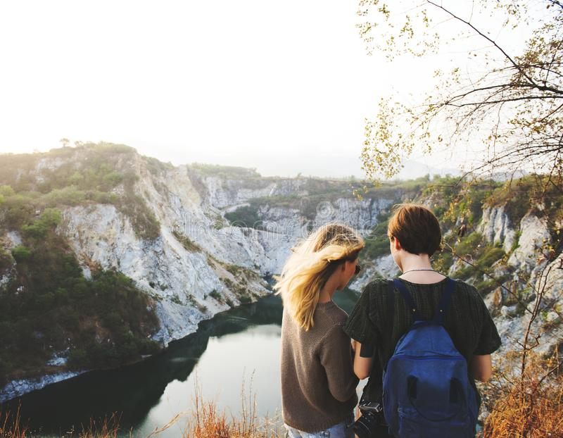 Cliffs, Friends, Friendship, Idyllic royalty free stock images