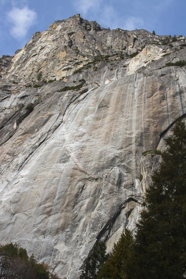 Cliffs of Granite Rise from Valley Floor in Yosemite National Pa stock image