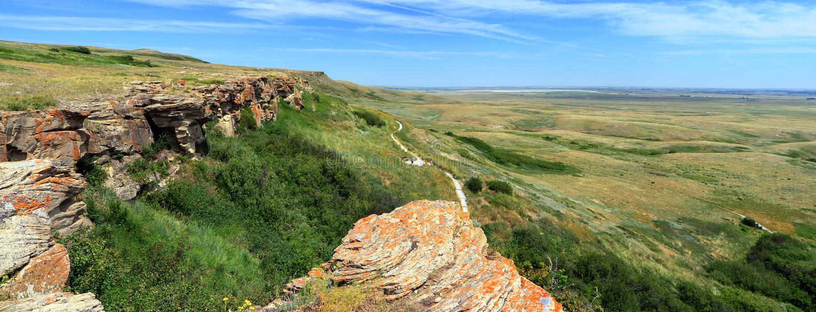 Panorama of Cliffs and Prairie Landscape at Head Smashed In Buffalo Jump UNESCO World Hertiage Site, Alberta, Canada stock photos