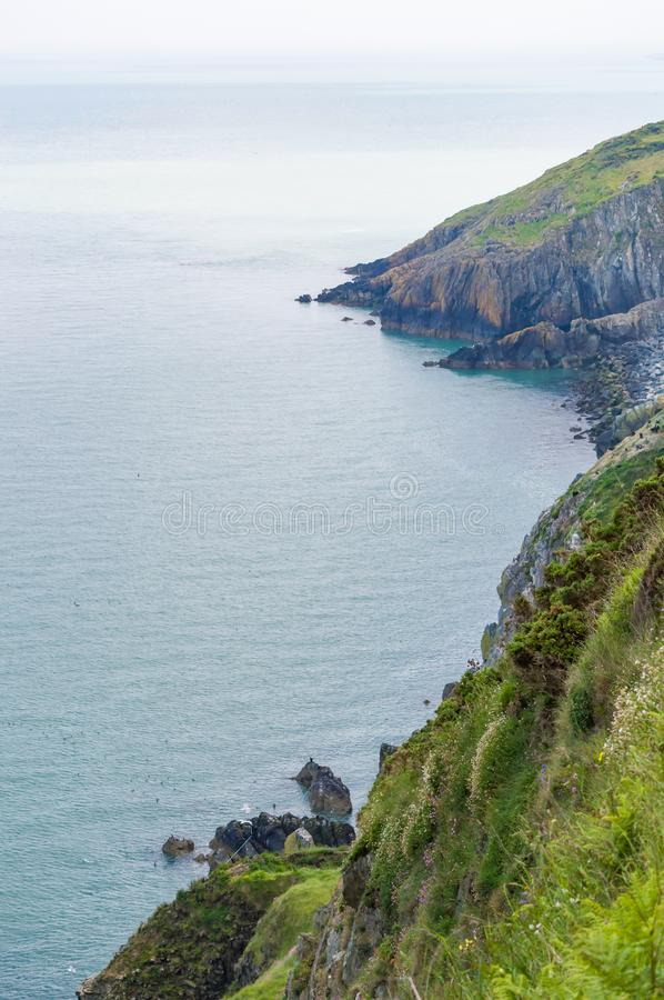 Cliffs and hillside in Wicklow, Ireland. Irish sea on left. Vertical shot with mist in background. Bright sunny day in summer royalty free stock photo