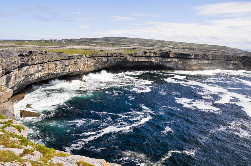 Cliffs in Inishmore, Aran islands in. Cliffs near Dun Aengus, Inishmore, Aran islands in Ireland stock photography