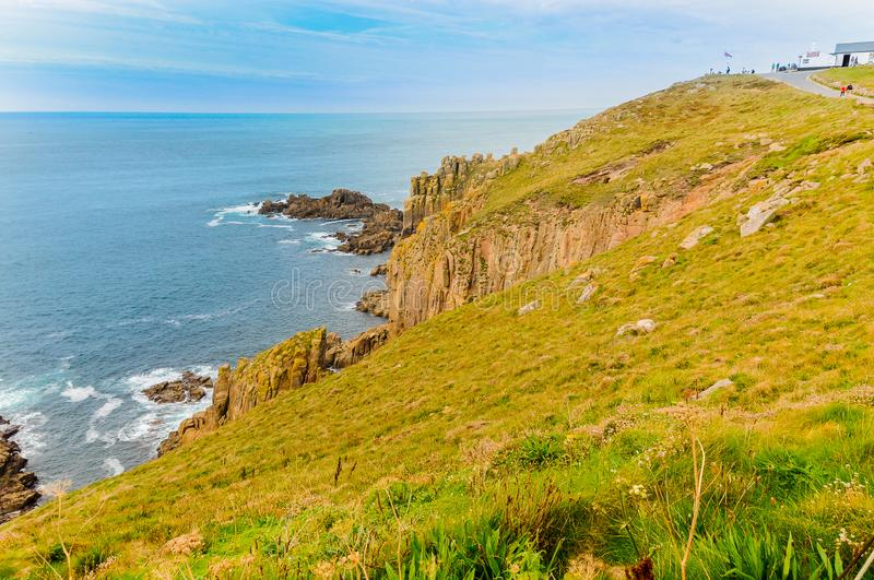 Cliffs of Lands End in Cornwall. In the upper right you can see the highest point royalty free stock image