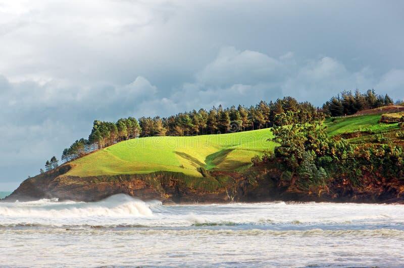 Cliffs in Lekeitio coast. Basque Country stock image