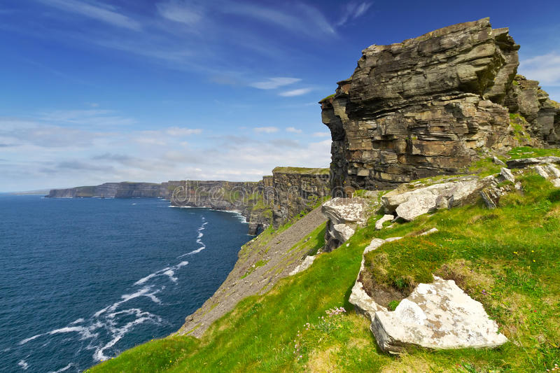 Cliffs Of Moher With Blue Sky Royalty Free Stock Images