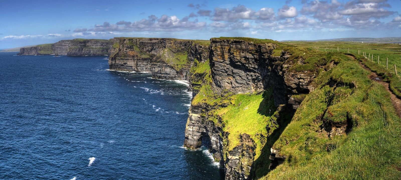 Cliffs of Moher panoramic royalty free stock image