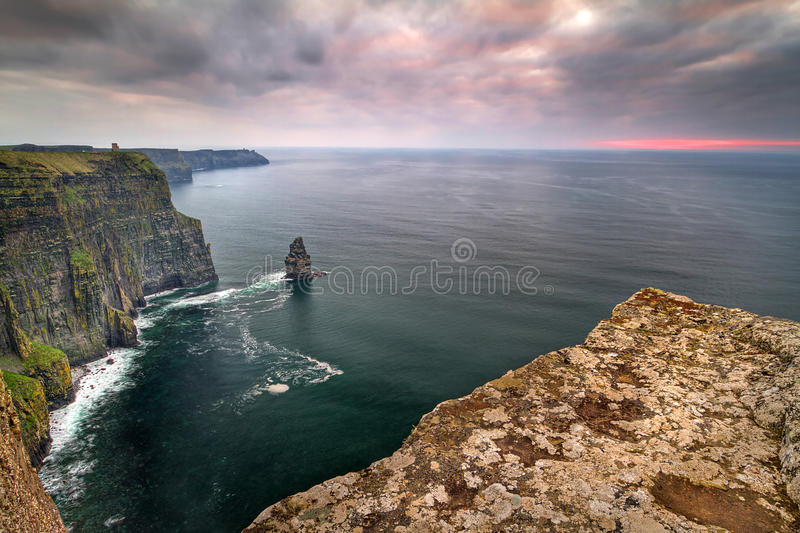 Download Cliffs of Moher at sunset stock photo. Image of edge - 24096470