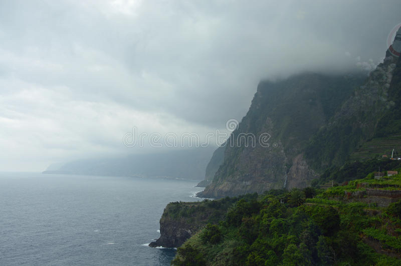 Cliffs on the north of Madeira island stock photography