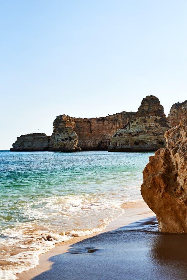 Cliffs and ocean, Praia da Marinha, Algarve, Portugal stock image