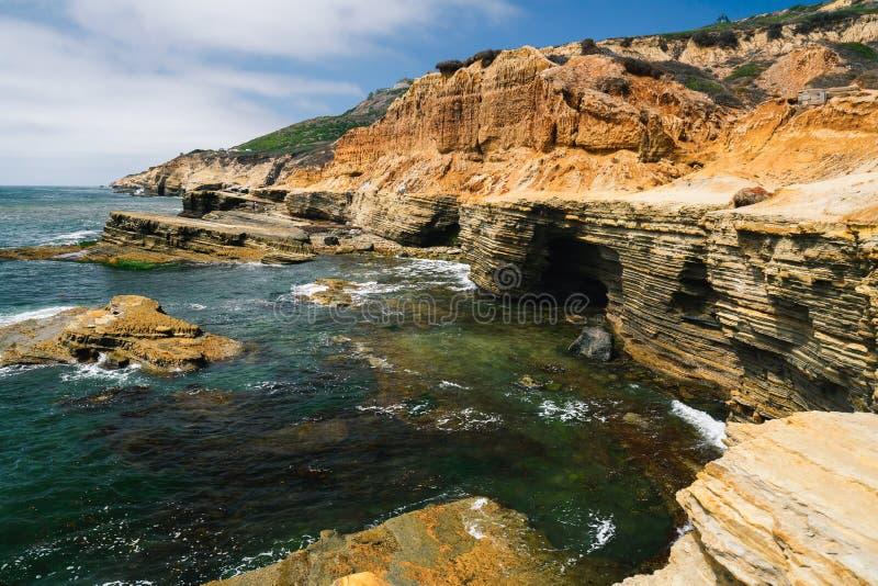 Cliffs and ocean view. San Diego, California. Sandstone cliffs, caves, and ocean view. San Diego Peninsula, California Coastline royalty free stock image
