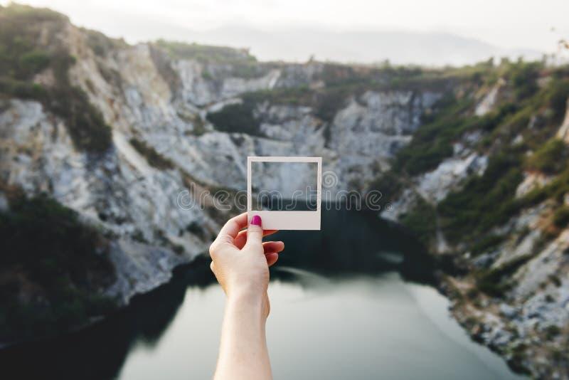 Cliffs polaroid photo royalty free stock photos