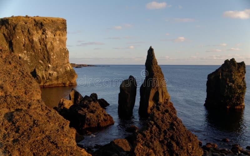 Cliffs at Reykjanesviti Iceland. Atlantic, ocean, beach, cloud, -, sky, coastline, dusk, environment, famous, place, geology, horizontal, journey, landscape royalty free stock photos