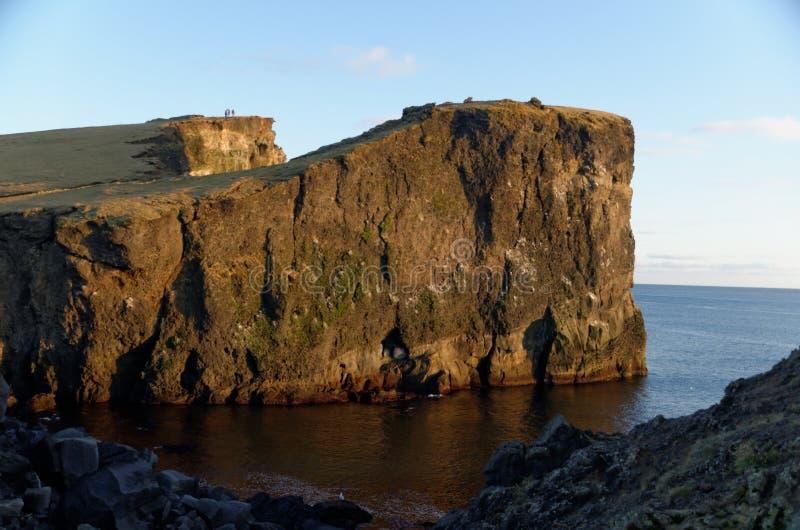 Cliffs at Reykjanesviti Iceland. Atlantic, ocean, beach, cloud, -, sky, coastline, dusk, environment, famous, place, geology, horizontal, journey, landscape stock image