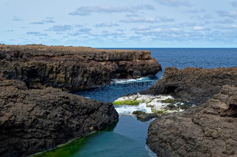 Cliffs and rocks on the Atlantic ocean coast. Cape Verde, island Sal stock photo