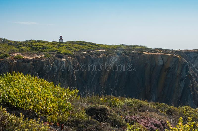The cliffs at the Sardao Cape Cabo Sardao in the Vicentine Coa royalty free stock images