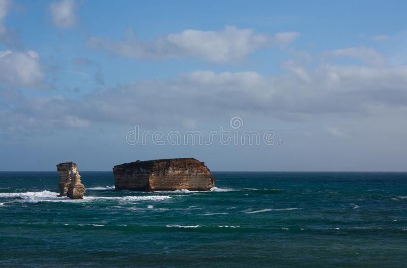 Cliffs in the sea on the Great Ocean Road in Australia. Cliffs in the sea on the Great Ocean Road near Melbourne in Australia, pacific, victoria, bay, island stock images
