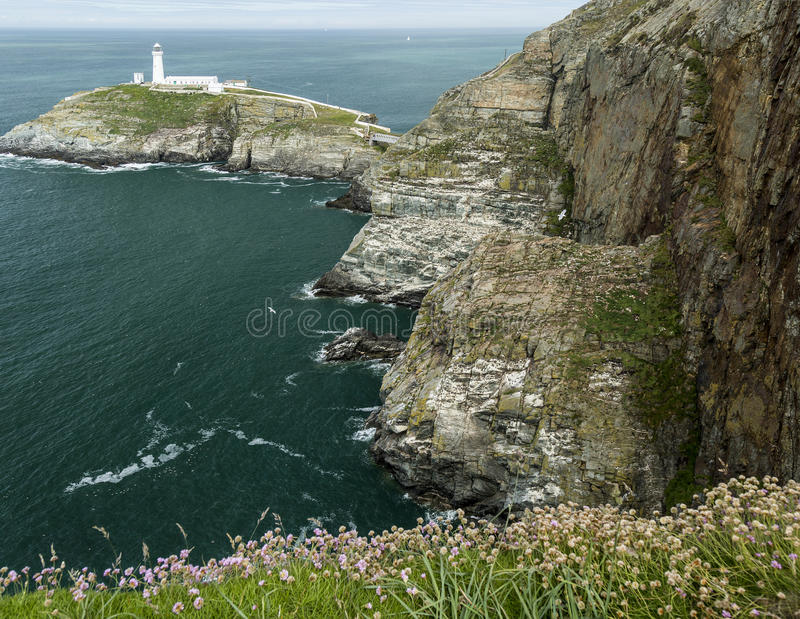 Cliffs and sea view at South Stack on Anglesey, Wales, UK stock photo