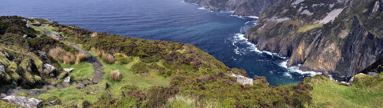 Cliffs of Slieve League panorama royalty free stock images