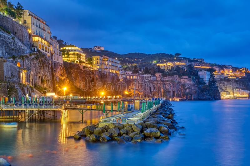 The cliffs of Sorrento. On the Italian Amalfi Coast at night royalty free stock image