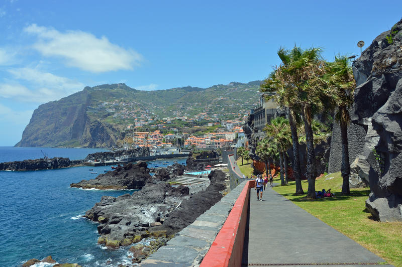 Cliffs on the south of Madeira island - Cabo Girao stock image